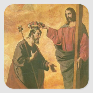 Coronation of St. Joseph by Jesus Square Sticker