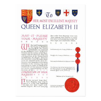 Coronation scroll, to Queen Elizabeth II Postcard