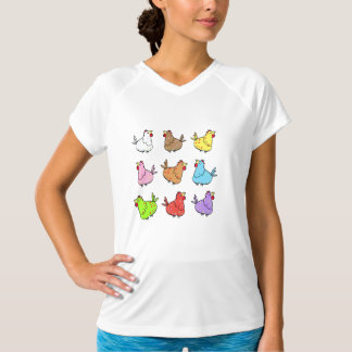 Cororful Chickens in Square - Ladies T-shirt
