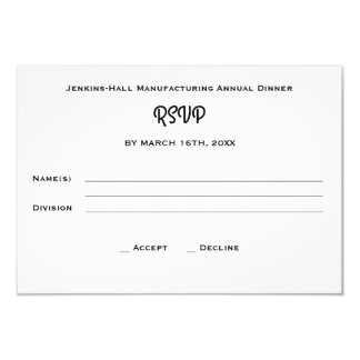 Corporate Business Company Dinner Event RSVP Card
