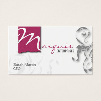 Corporate CEO Business Card Elegant Monogram Pink