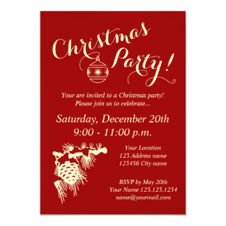 "Corporate Christmas party invitations for company 5"" X 7"" Invitation Card"