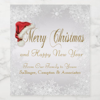 Corporate Christmas Wine Bottle Labels