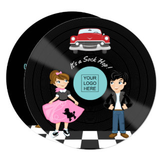 Corporate/Club/College/School Sock Hop Retro Party Card