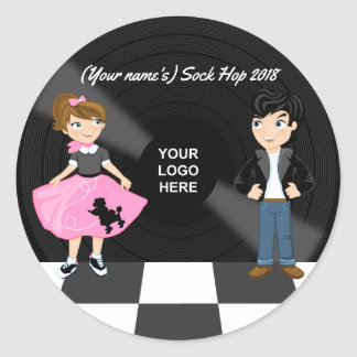 Corporate/Club/College/School Sock Hop Retro Party Classic Round Sticker