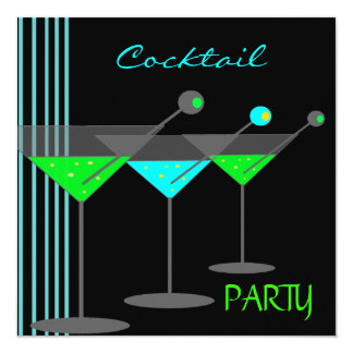 Corporate Cocktail Party Drinks Martini Blue Green Card