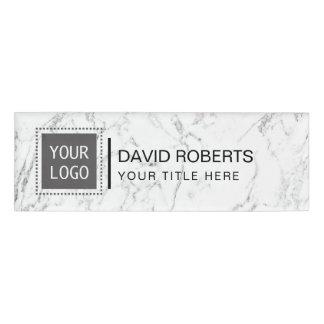 Corporate Custom Logo Modern White Marble Name Tag