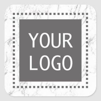 Corporate Custom Logo Modern White Marble Square Sticker