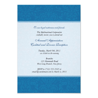 Corporate Damask Cobalt 13 Cm X 18 Cm Invitation Card