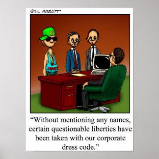 Corporate Dress Code Humor Poster