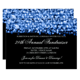 Corporate Fundraiser Gala Party Sparkles Blue Card