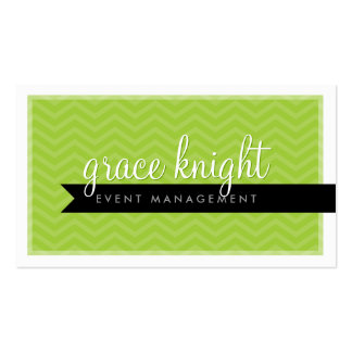 CORPORATE modern simple chevron bright lime green Pack Of Standard Business Cards