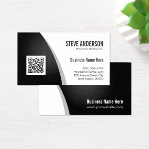 Qr code business cards business card printing zazzle corporate qr code logo professional black white business card reheart Images