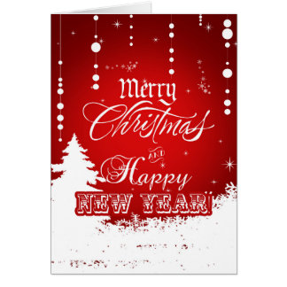 Corporate Red White Merry Christmas Happy New Year Card