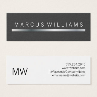 corporate Silver Bar Accent Mini Business Card
