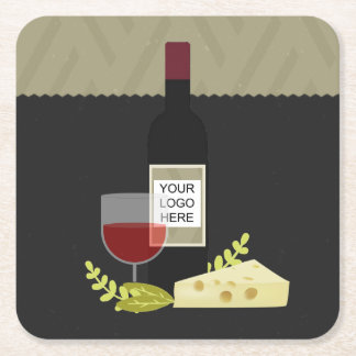 Corporate Wine Tasting/ Wine and Cheese add logo Square Paper Coaster