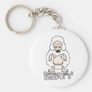 Corporations R Sheeple 2 Basic Round Button Key Ring