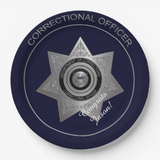Correctional Officers Badge,Silver 01-Paper Plates