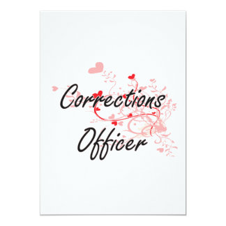 Corrections Officer Artistic Job Design with Heart 13 Cm X 18 Cm Invitation Card