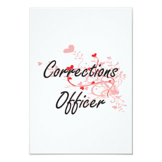 Corrections Officer Artistic Job Design with Heart 9 Cm X 13 Cm Invitation Card