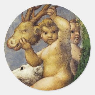 Correggio- Putto With Hunting Trophy Round Sticker