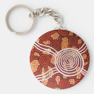 Corroboree II Aboriginal Art Basic Round Button Key Ring