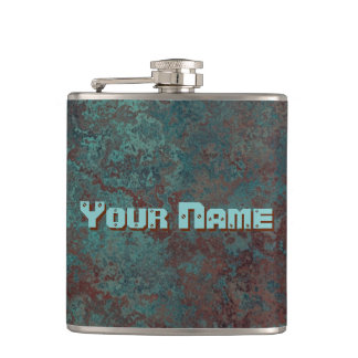 "Corrosion ""Copper"" print Name flask vinyl wrapped"