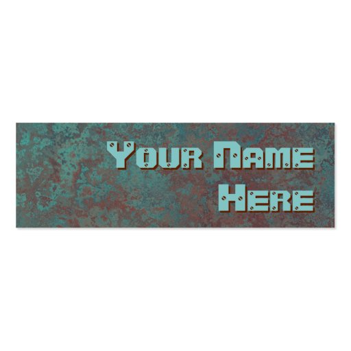 """Corrosion """"copper"""" print side text skinny business card templates"""