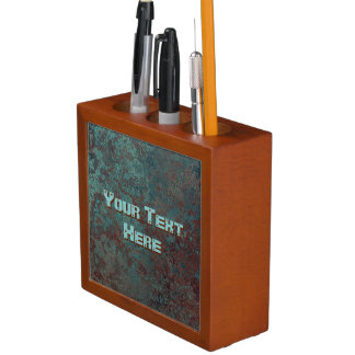 "Corrosion "" Copper"" print Text desk organiser"