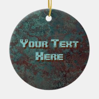 """Corrosion """"Copper"""" print Text ornament round"""