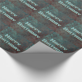"Corrosion "" Copper"" print tiled Happy Birthday Wrapping Paper"