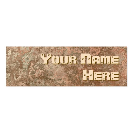 Corrosion orange print side text skinny business cards