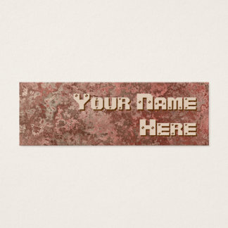 Corrosion red print side text skinny mini business card