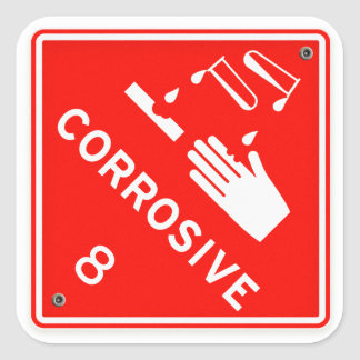 Corrosive Safety Red Sign Chemicals Caustic Square Sticker