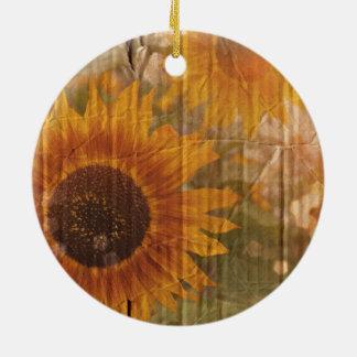 Corrugated Cardboard  bohemian yellow Sunflower Ceramic Ornament