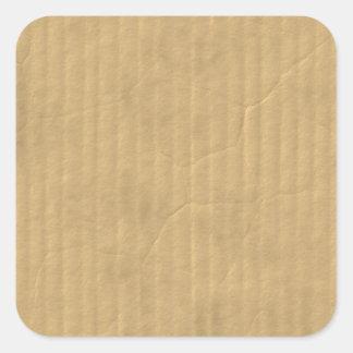 Corrugated Cardboard Texture Square Sticker
