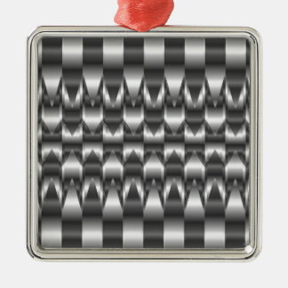 Corrugated metal texture Silver-Colored square decoration