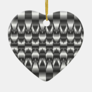 Corrugated metal texture ceramic heart decoration