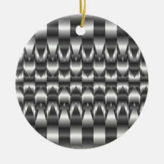Corrugated metal texture round ceramic decoration