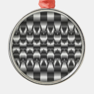 Corrugated metal texture Silver-Colored round decoration