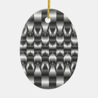 Corrugated metal texture ceramic oval decoration