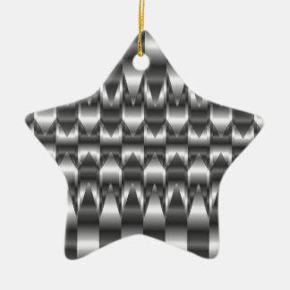 Corrugated metal texture ceramic star decoration