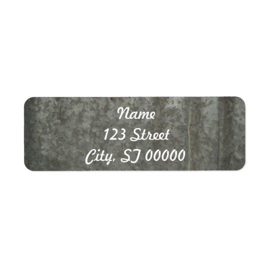 corrugated sheet metal return address label