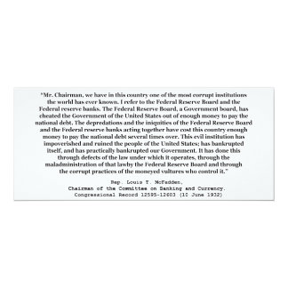 """Corrupt Federal Reserve Quote by Louis T McFadden 4"""" X 9.25"""" Invitation Card"""