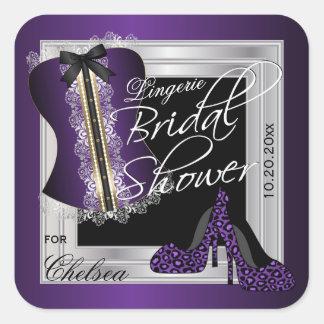 Corset Bridal Shower - Lingerie   Purple Square Sticker