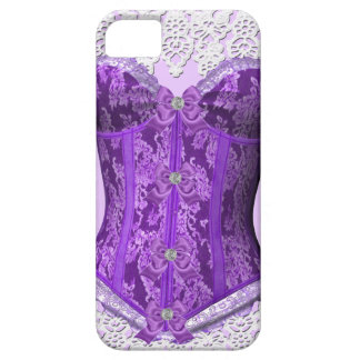 Corset Purple Mauve White Lace Damask Floral Barely There iPhone 5 Case