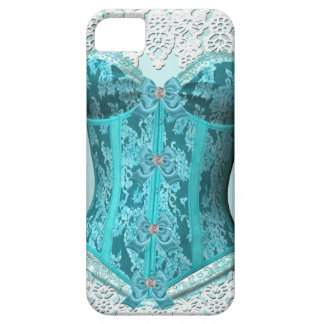 Corset Teal Blue White Lace Damask Floral Barely There iPhone 5 Case