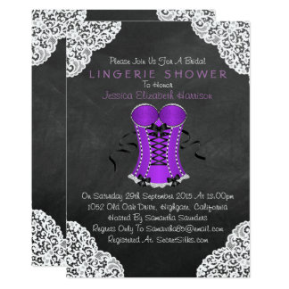 Corset White Lace Chalkboard Lingerie Shower 13 Cm X 18 Cm Invitation Card