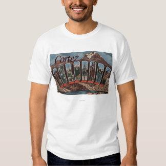 Cortez, Colorado - Large Letter Scenes T Shirts