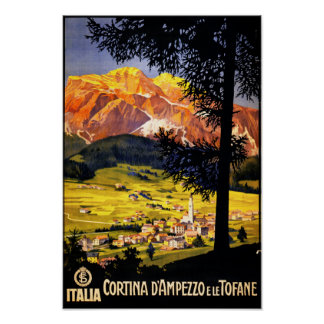Cortina d Ampezzo Italy Vintage Poster Restored